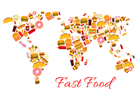 World map of fast food snacks. Vector continents of cheeseburger burger and pizza, french fries and hot dog sandwich hamburger, gyros burrito or doner kebab or tacos, chicken nuggets, ice cream and donut, soda or coffee