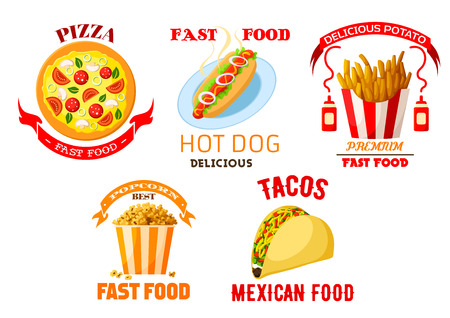 frites: Fast food vector icons set. Illustration