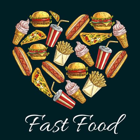 food and drinks: I love fast food heart shape emblem. Vector label of fast food snacks, desserts, drinks. Illustration