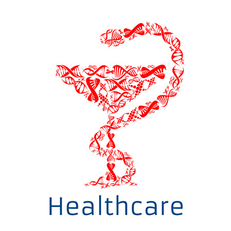 Healthcare vector Bowl of Hygieia symbol or poster of human DNA helix. Gene health concept design for genetics medicine clinic or hospital and microbiology research laboratory. Medical symbol of snake and bowl