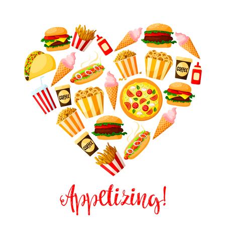 frites: Fastfood meal snacks design for restaurant delivery, takeaway. Illustration