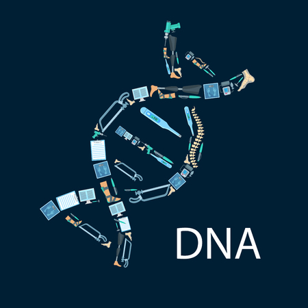 orthopedist: Orthopedy and orthopedics surgery poster in shape of DNA symbol. Orthopedic items and medical tools of human spine, foot and leg limb prosthesis, surgeon drill, hammer and bone saw, thermometer and scales, x-ray radiograph, tonometer or pulsometer Illustration