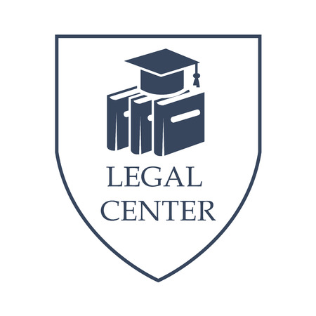 Anwaltschafts- und Rechtsmittelikone mit Symbolen von Gesetzeskodexbüchern.