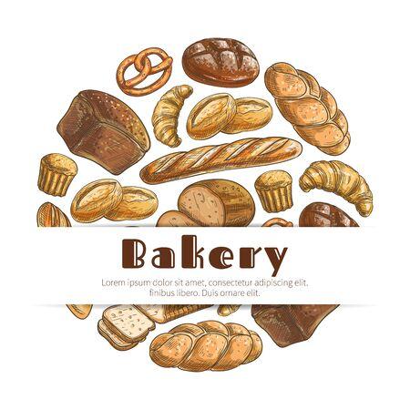 pastel de chocolate: Pan de centeno de ladrillo esbozo de trigo y panecillo trenzado, pretzel, pastel de dulce o pastel y croissant, pan largo, bollo de chocolate postre y tostadas de pan de trigo en rodajas, al horno o rosquilla magdalena. Diseño del vector del cartel para panadería, bollería, pastelería menú