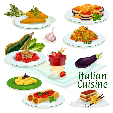 cream cheese: Italian cuisine traditional food icon. Pasta with mushroom sauce, eggplant cheese casserole, stuffed pasta with fish, coffee cake tiramisu, potato dumplings, vegetable omelette, fruit cream dessert Illustration