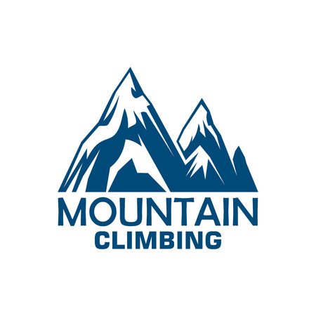 symbol sport: Mountain climbing adventure and camping expedition badge. Snowy mountains blue silhouette symbol for sport club emblem design