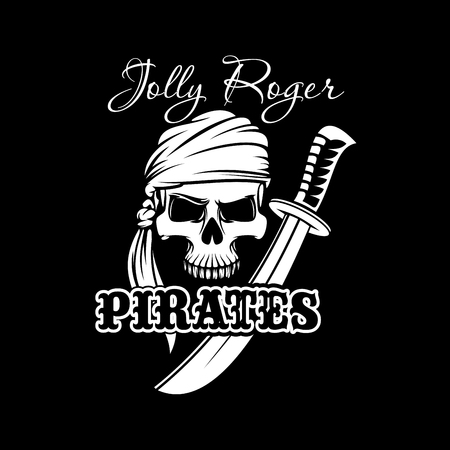 crossbone: Pirate skull in bandana with sword. Jolly Roger sign of pirates flag for pirate theme, Halloween poster, t-shirt print and tattoo design