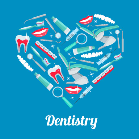 Heart with dentistry icons. Tooth, dentist tool, toothpaste, toothbrush, chair, brace, smile, mirror, syringe and probe arranged into heart shaped badge for dentistry or dentist office poster design Illustration