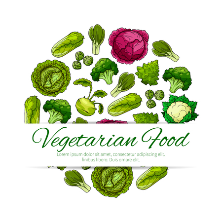 Vegetarian food poster with green vegetables. Cabbage, broccoli, kohlrabi, cauliflower, brussel sprout, bok choy and romanesco cauliflower arranged into a round badge for label, recipe, menu design Illustration