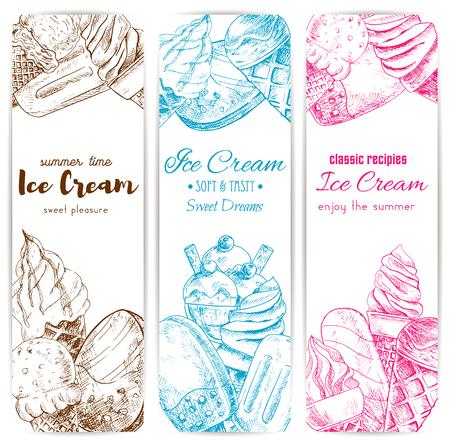 Ensemble de bannière d'esquisse de glace. Coffre à la glace, glace glacée au chocolat sur le bâton, dessert au sundae et glaces aux fruits. Menu de dessert au café, conception d'étiquettes d'emballage alimentaire Banque d'images - 71499851
