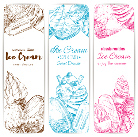 Ice cream sketch banner set. Soft serve ice cream cone, chocolate covered ice cream on stick, sundae dessert and fruit ice pops. Cafe dessert menu, food packaging label design