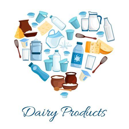 latte fresco: Cuore composta da prodotti lattiero-caseari. Latte fresco fattoria, formaggio, panna, yogurt, ricotta e panna acida. tema di nutrizione, il cibo e il confezionamento bevanda disegno naturale sano Vettoriali