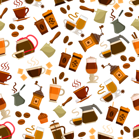 cocktail drink: Coffee drink and cocktail with dessert seamless pattern background. Espresso, cappuccino, irish coffee, latte and macchiato cups with bean, pot, grinder, chocolate, cupcake. Coffee shop, cafe design