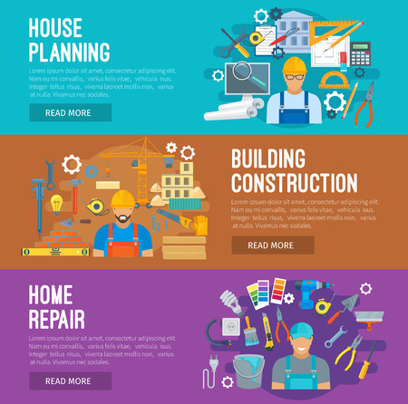 industry design: Building construction, home repair and house planning banner set. Architect with project, foreman on construction site and repairman with tools. Building industry themes design