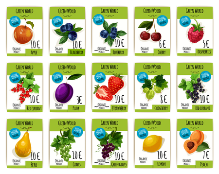 grape fruit: Fruit and berry price tag set. Apple, cherry, strawberry, grape and plum, peach and lemon, raspberry and currant, blackberry, gooseberry and blueberry labels for organic shop, fruit market design Illustration