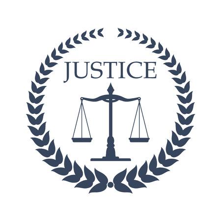 Firma prawnicza, prawnik lub urząd prawny. Wagi sprawiedliwości, oprawione w heraldyczny wieńcowy laurowy. Karta prawnika, logo firmy prawniczej, projekt godła centrum prawnego Logo