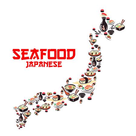 Kaart van Japan met de Aziatische keuken visgerechten. Japanse keuken sushi roll en nigiri, schaal-en schelpdieren soep en rijst met garnalen, zalm, tonijn en kaviaar, sojasaus, sake. Japanse en Aziatische cuisine
