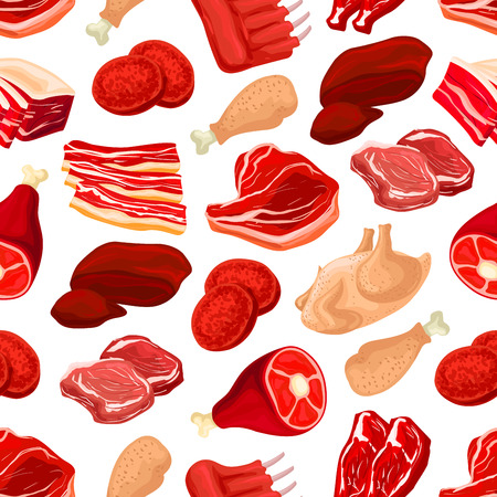 Meat cuts seamless pattern background. Fresh pork chop, beef ribs, tenderloin, bacon, ham, burger patty, chicken, turkey leg and ham roast. Food background for butchery shop design