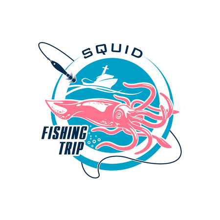 Sea fishing trip round badge. Big game fishing sport symbol with squid and fishing boat for sea fishing tour or sporting tournament design