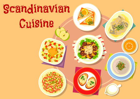 pickles: Scandinavian cuisine fish dishes icon with vegetable fish salad, shrimp toast, noodle meat salad with pickles, pike caviar on rye bread, liver with vegetables and fruit sauce, mushroom cream soup