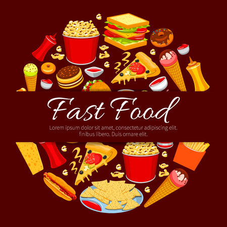 sandwich: Fast food round symbol. Burger, hot dog, pizza, french fries, taco, nacho, donut, sandwich, ice cream cone, popcorn and sauce icons with text Fast Food in center. Takeaway food packaging design Illustration