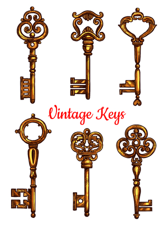 latchkey: Vintage key isolated sketch set. Antique golden door key and skeleton, decorated by victorian flourishes and ornaments. Tattoo, jewelry and embellishment design