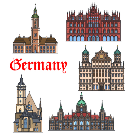 history architecture: German travel landmark thin line icon set. Church Thomaskirche, Augsburg Town Hall, Abbey Church Birnau, New City Hall and Old Town Hall in Hanover. Travel, history, architecture theme design