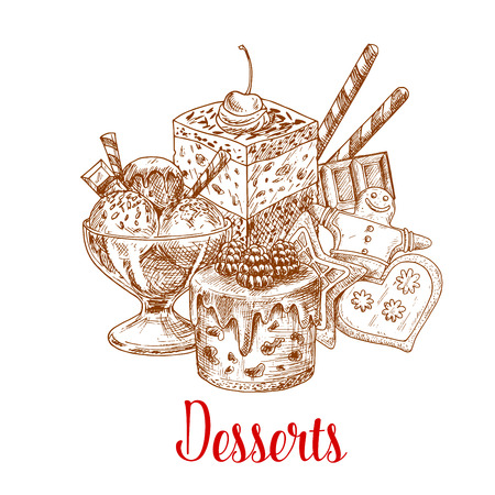 gingerbread cake: Dessert sketch poster. Chocolate and fruit cake, sundae ice cream dessert and gingerbread cookie with cream, fruit, glaze ornament, nuts and wafer tube. Pastry shop, cafe menu design