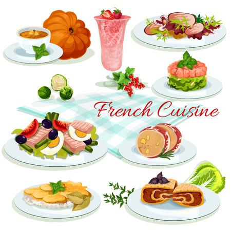 Franse keuken cartoon poster. Tomaat olijven salade met ei en vis, aardappelen kaas ovenschotel, eend salade, leverpastei in bacon, bes dessert, pompoensoep, zalmtartaar, gevulde kool Stockfoto - 71509529