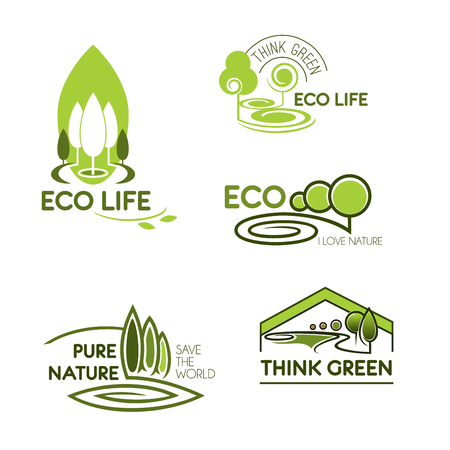 Eco icon set. Eco life, think green and pure nature green signs with trees and plants. Ecology, environment protection, save the world themes design Illustration