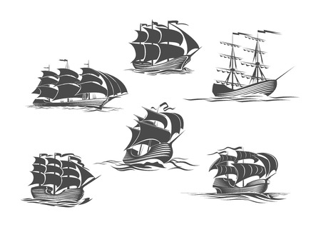 Sailing ship, sailboat, yacht and brigantine isolated icon set. Old sailing vessel under full sails and flags on masts silhouettes for sailing sport, ocean cruise, marine trip, regatta design