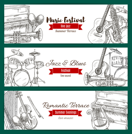 Jazz and blues live music festival banner set with music instrument sketches. Guitar, piano, drum, saxophone, trumpet, harp, maracas, lyre with ribbon banner for poster and flyer design Illustration