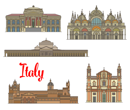 Italian travel landmarks of arts and religion. Linear Basilica of San Francesco di Paola, Massimo Theater, Church of San Domenico, Saint Mark Basilica, Palermo Cathedral icon set for travel design Illustration
