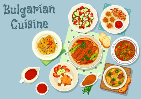 savory: Bulgarian cuisine savory dishes icon of grilled meat with pepper on flatbread, vegetable balls with tomato sauce, vegetable salad with cheese, beef vegetable and lentil soups, pork stew, cabbage roll Illustration