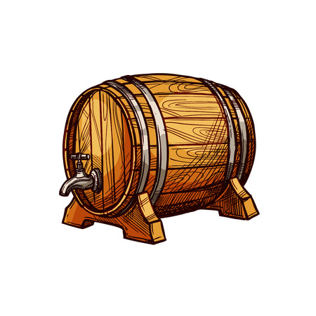 Wooden barrel of beer or wine sketch. Old oak keg with a tap on wood stand. Bar, pub, winery or brewery symbol, alcoholic drinks design