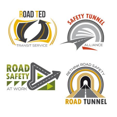 interchange: Road and highway symbol set. Road tunnel and freeway interchange sign for road and traffic safety badge, transit service emblem, transportation themes design