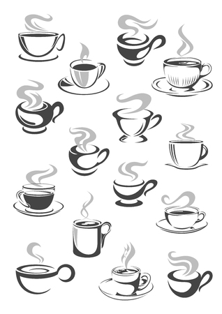 beverage menu: Coffee cup and tea mug icon set. Cup of hot beverage with espresso, cappuccino, mocha, chocolate or tea drinks with saucer and swirls of steam. Cafe or coffee shop menu, drink themes design