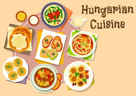 Hungarian national cuisine icon of pepper with garlic cheese spread, vegetable beef soup, pork bean stew, flatbread with sour cream, fish noodle soup, cheese dumpling with plum fruit, egg pate tartlet Illustration