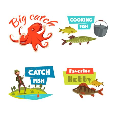 leisure activity: Fishing cartoon symbol set. Fisherman fishing with spinning rod on lake, trophy fish, octopus and cooking pot with caption Big Catch, Favorite Hobby and Catch Fish. Sport and leisure activity design