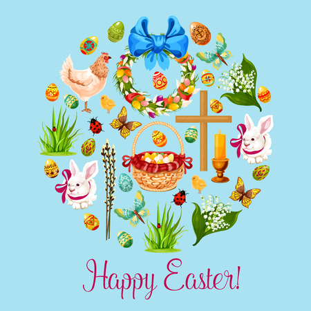 Easter holiday round symbol, composed of Easter egg, chicken, rabbit bunny with ribbon, chick, basket with decorated Easter egg, wreath with spring flowers and eggs, cross, candle, butterfly