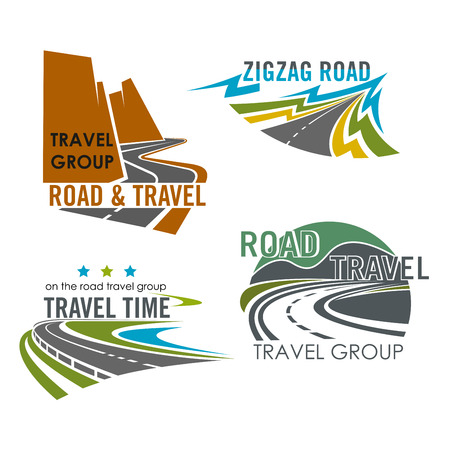 Road or route vector icons. Emblems of highway, motorway lane or expressway drive for travel trip adventure, industry and asphalt driveway construction, transportation and navigation corporation Ilustrace