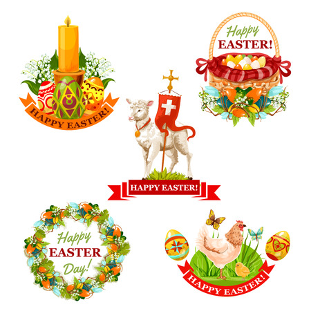 Easter holiday label set. Easter eggs in basket, chicken with chick and butterfly, Easter wreath with spring flowers and decorated eggs, lamb of God with cross, candle with lilies and ribbon banner Illustration