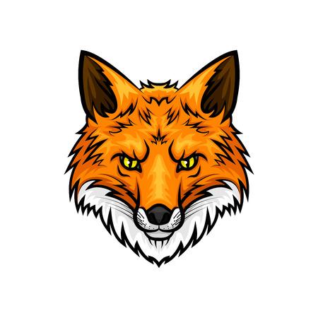 Fox vecteur mascotte icône. Tête et museau ou museau de rouge ou jaune animal renard avec des yeux verts et la fourrure. la conception de l'emblème isolé pour l'équipe de sport, chasse voyage d'aventure club ou signe de tatouage