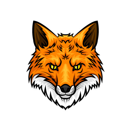Fox vector mascot icon. Head and muzzle or snout of red or yellow fox animal with green eyes and fur. Isolated emblem design for sport team, hunting adventure trip club or tattoo sign Illusztráció