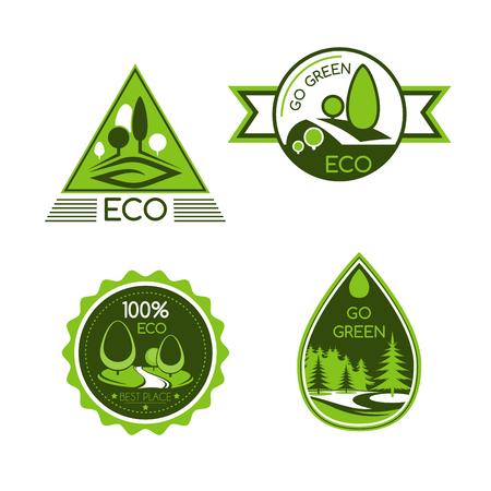 Visez les icônes vectorielles vertes. Symboles de protection de la nature et de l'environnement de la goutte d'eau et des arbres forestiers. Concept d'économie d'écologie pour la conception d'étiquettes de paquets de produits écologiques, sans déchets ou sans carbone Vecteurs