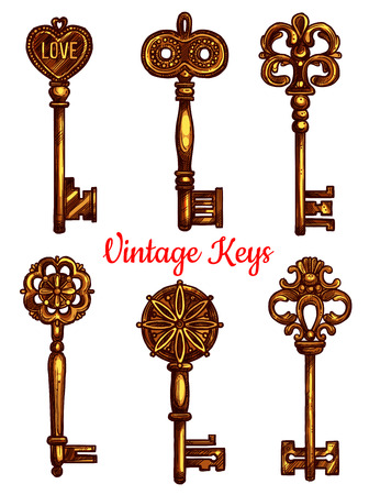 Vintage and old keys vector icons sketch. Set of metal brass or bronze lock key symbols with antique or medieval ornate bow and wards. Lever-type heraldic keys for coat of arms or heraldry shield Illustration