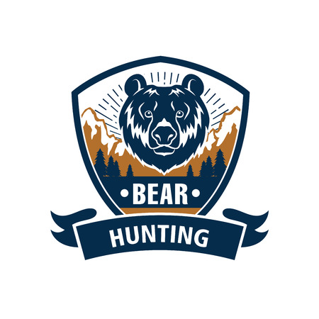 Hunting club emblem with grizzly bear muzzle. Hunter wildlife adventure vector isolated blue icon and ribbon with wild roaring predatory animal and nature Reklamní fotografie - 72313378