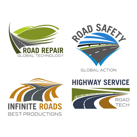 Road, highway or motorway lane and expressway drive vector isolated icons set for safety driving sign, transportation route repair, construction or car vehicle insurance company and navigation application
