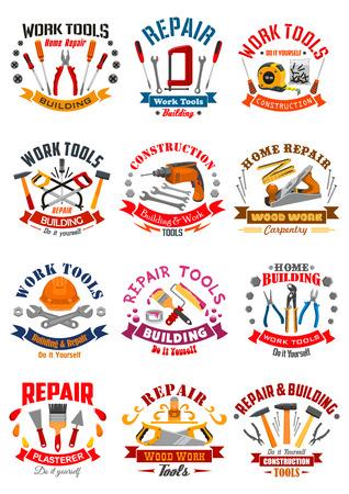 作業ツールのエンブレム、またはベクトルのアイコン楽器巻尺定規のセット、ヘルメット、ドリル、ハンマー、スパナ レンチとドライバー、漆喰こ