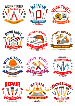 Work tools emblems or vector icons set of instruments tape measure ruler, helmet, drill, hammer and saw, spanner wrench and screwdriver, plaster trowel and paint brush roll, plane, mallet, pliers and vise for repair, carpentry, building and home fix